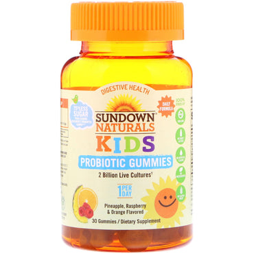 Sundown Naturals, Kids Probiotic Gummies, Pineapple, Raspberry & Orange Flavored, 30 Gummies