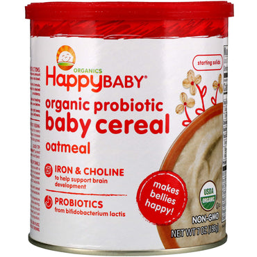 Nurture Inc. (Happy Baby) Organic Probiotic Baby Cereal Oatmeal 7 oz (198 g)