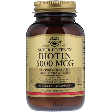 Solgar, Biotin, 5000 mcg, 50 Vegetable Capsules