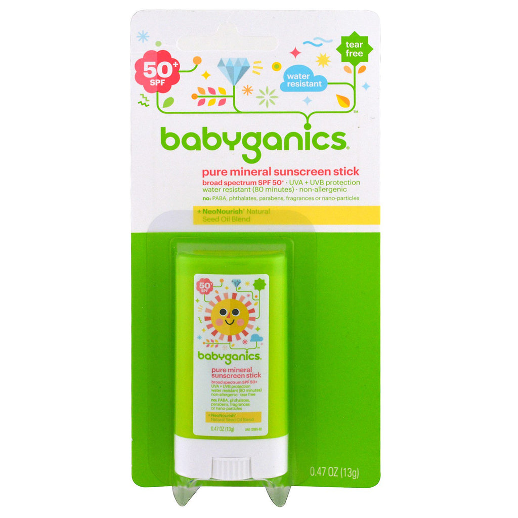 BabyGanics Pure Mineral Sunscreen Stick SPF 50+ 0.47 oz (13 g)
