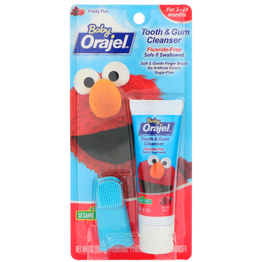 Orajel, Elmo Tooth & Gum Cleanser, Fruity Fun, 3-24 Months, 1 oz (28.3 g)