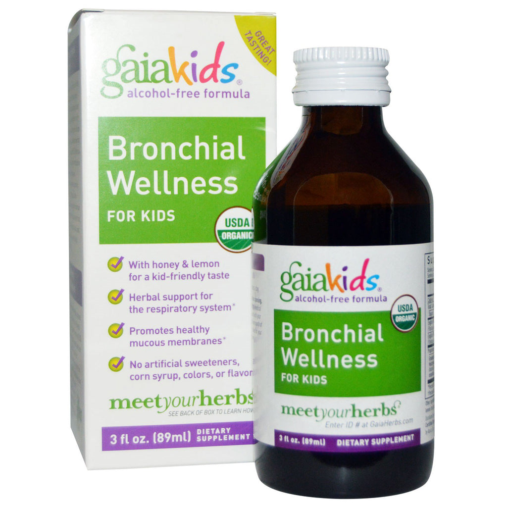 Gaia Herbs, Kids, Bronchial Wellness, for Kids, Alcohol-Free, 3 fl oz (89 ml)