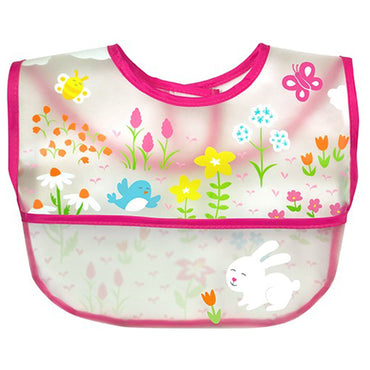 iPlay Inc., Green Sprouts, Wipe-Off Bib, 9-18 Months, Pink, 1 Bib