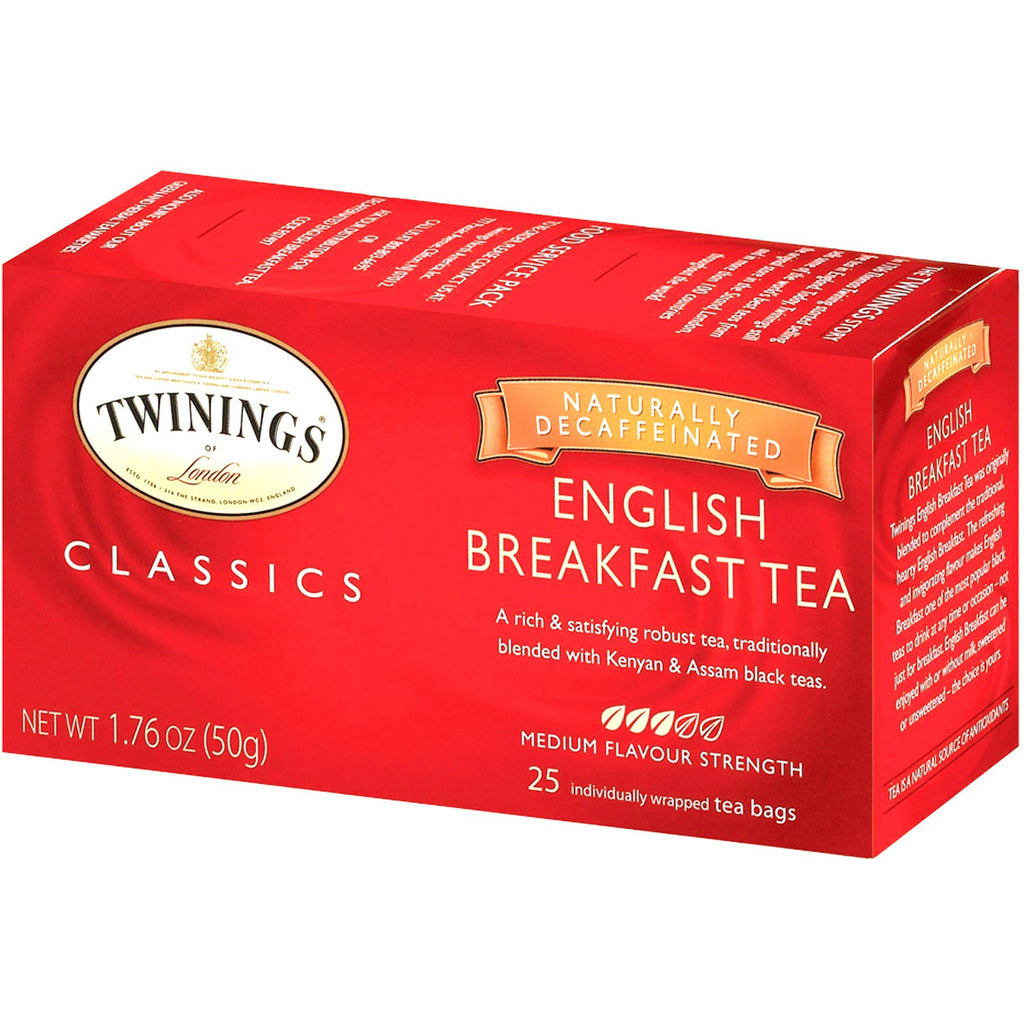 Twinings, Classics, English Breakfast Tea, Decaffeinated, 25 Tea Bags, 1.76 oz (50 g)