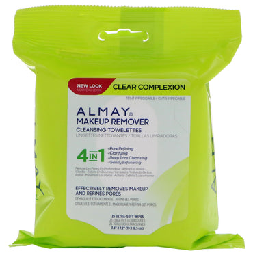 Almay, Clear Complexion Makeup Remover Cleansing Towelettes, 25 Ultra-Soft Wipes