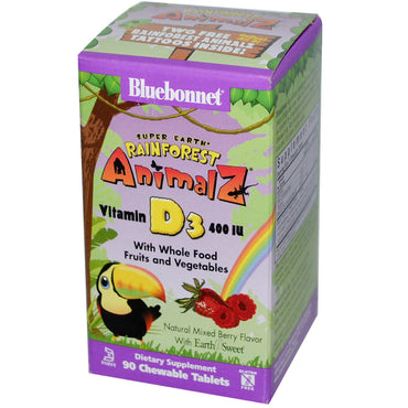 Bluebonnet Nutrition, Super Earth, Rainforest Animalz, Vitamin D3, Mixed Berry, 400 IU, 90 Chewable Tablets