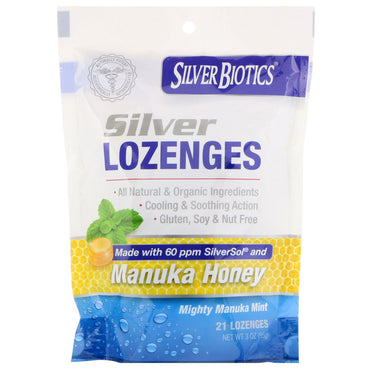 American Biotech Labs Silver Biotics Silver Lozenges 60 PPM SilverSol Mighty Manuka Mint 21 Lozenges