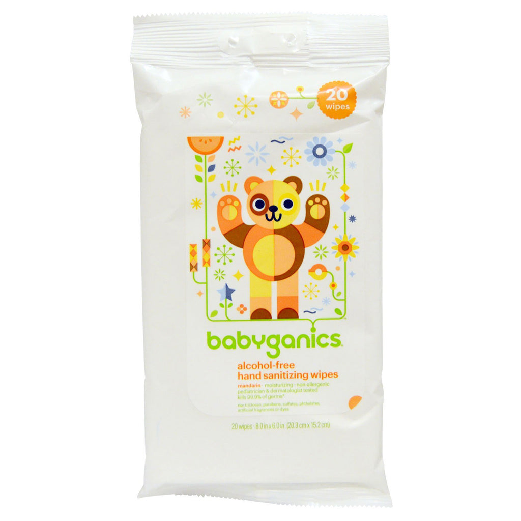 BabyGanics Hand Sanitizing Wipes Alcohol Free Mandarin 20 Wipes