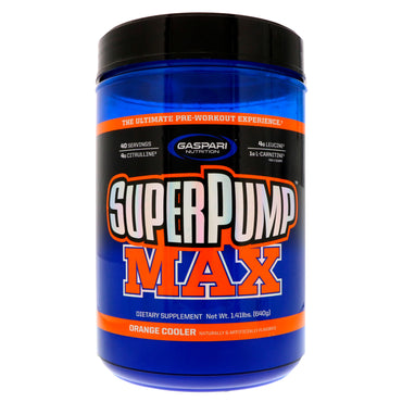 Gaspari Nutrition, SuperPump Max, The Ultimate Pre-Workout Supplement, Refreshing Orange, 1.41 lbs (640 g)