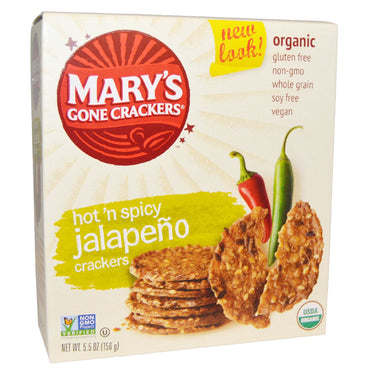 Mary's Gone Crackers, Organic, Hot 'n Spicy Jalapeno Crackers, 5.5 oz (156 g)