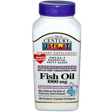 21st Century, Fish Oil, 1000 mg, 90 Enteric Coated Softgels