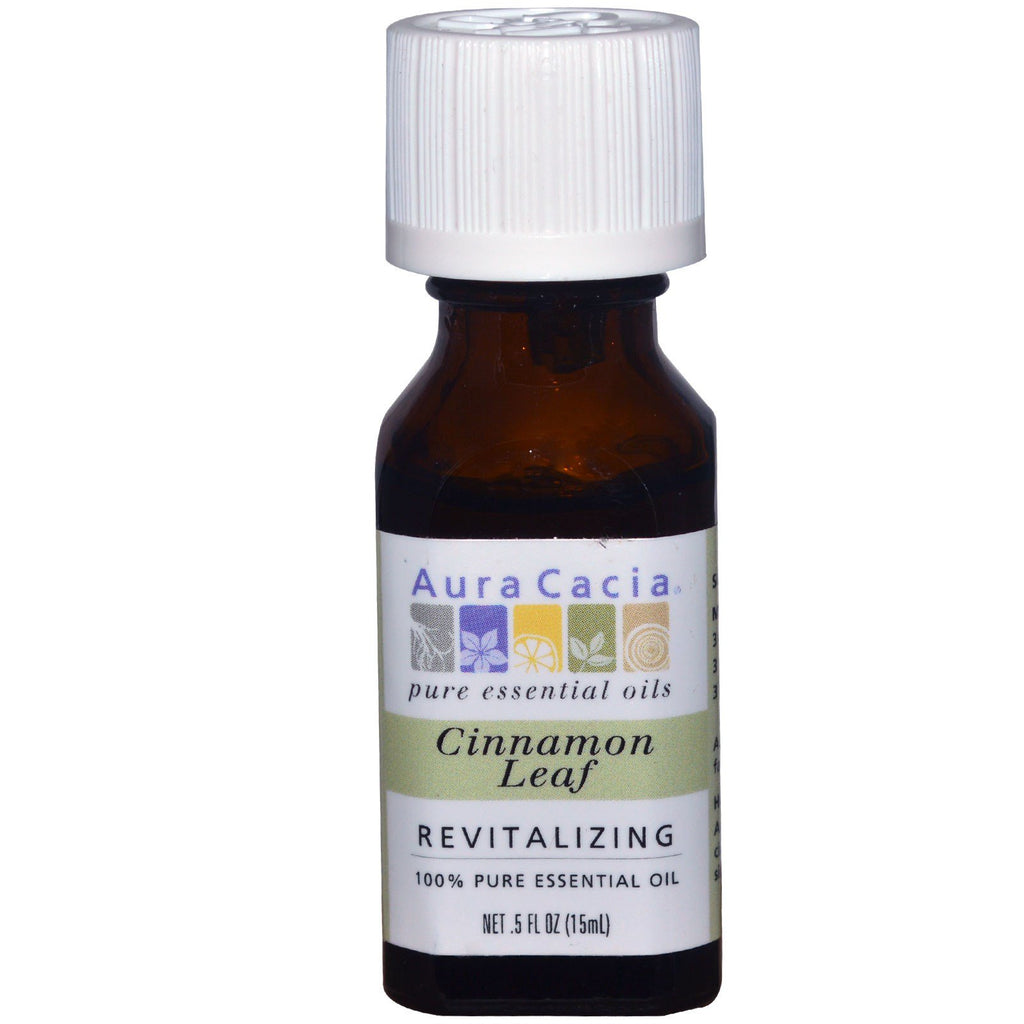Aura Cacia, 100% Pure Essential Oil, Cinnamon Leaf, Revitalizing, .5 fl oz (15 ml)