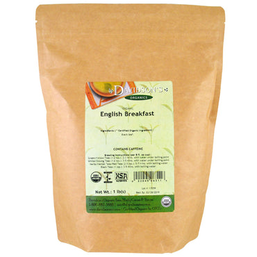 Davidson's Tea, Organic, English Breakfast Tea, 1 lb