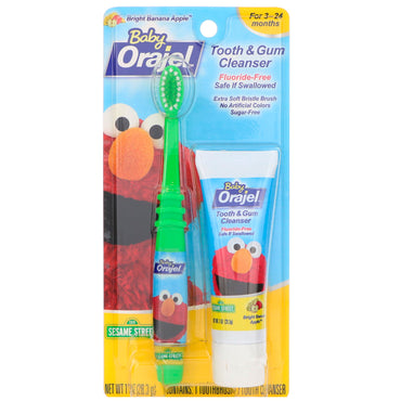 Orajel, Elmo Tooth & Gum Cleanser, Bright Banana Apple, 3-24 Months, 1 oz (28.3 g)