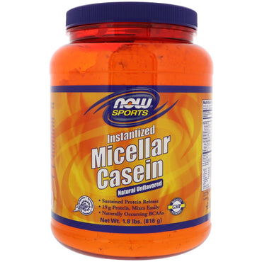 Now Foods, Sports, Micellar Casein, Instantized, Natural Unflavored, 1.8 lbs (816 g)