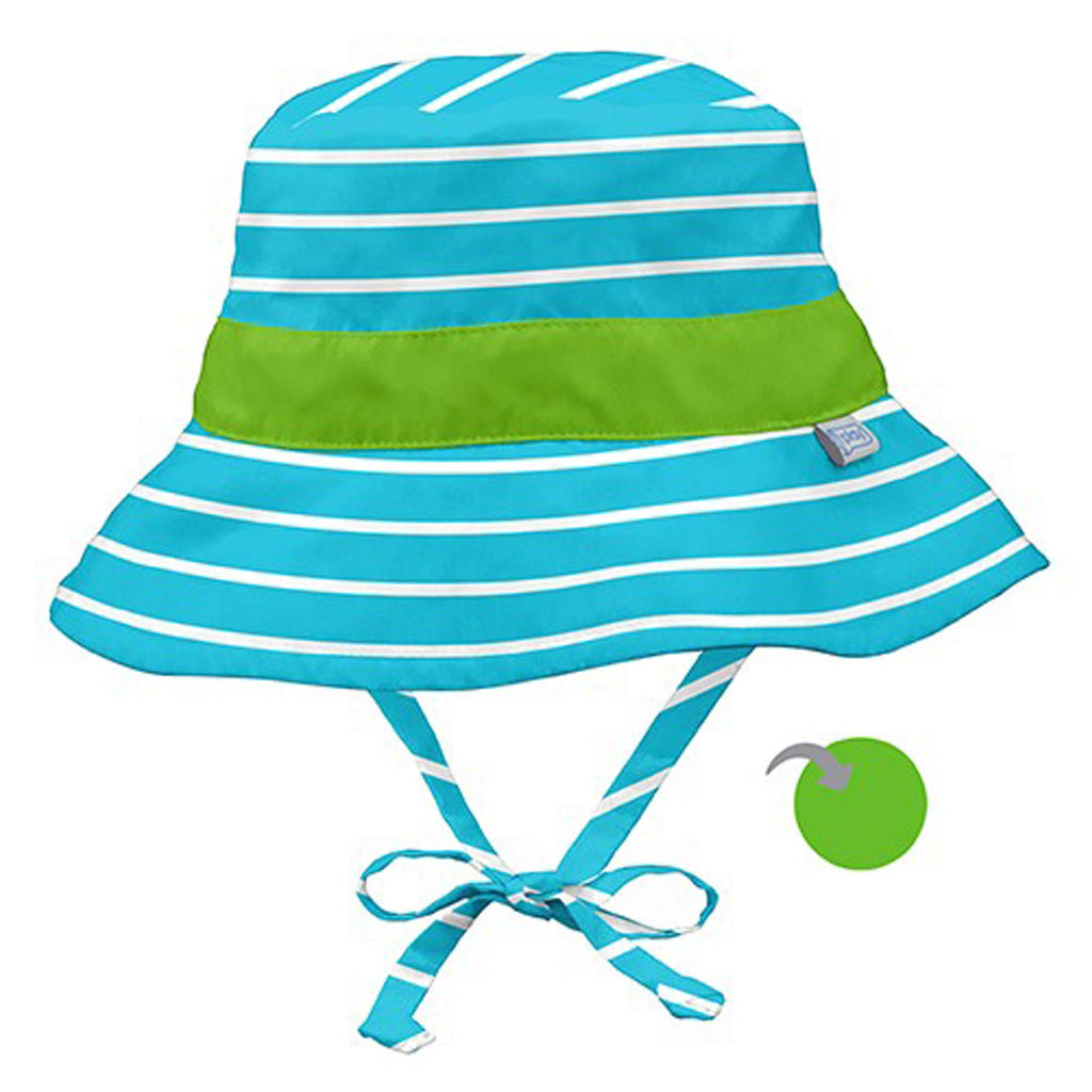 iPlay Inc., Classic Reversible Bucket Sun Protection Hat, 9-12 Months, Aqua Stripe