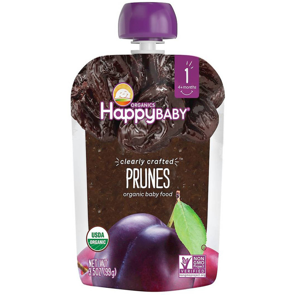 Nurture Inc. (Happy Baby) Organic Baby Food Stage 1 Clearly Crafted Prunes  4 + Months 3.5 oz (99 g)