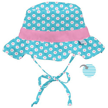 iPlay Inc., Classic Reversible Ruffle Bucket Sun Protection Hat, 9-18 Months, Aqua Daisy