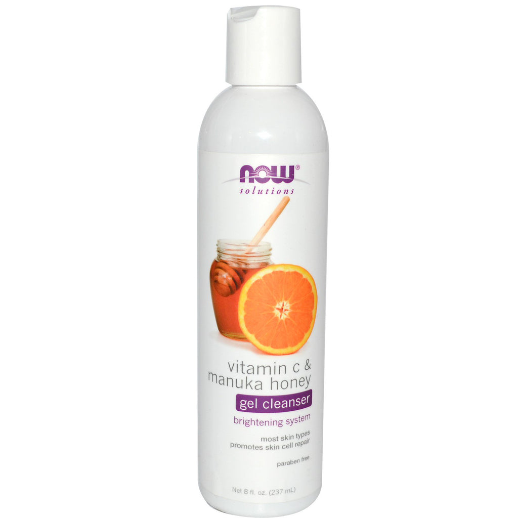 Now Foods, Solutions, Gel Cleanser, Vitamin C & Manuka Honey, 8 fl oz (237 ml)