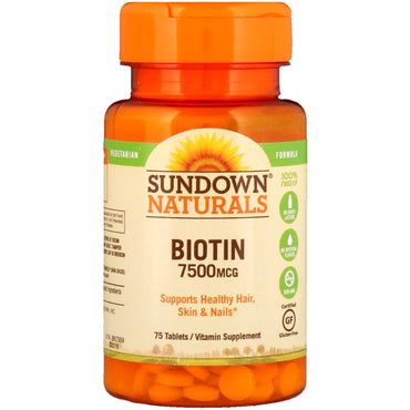 Sundown Naturals, Biotin, 7,500 mcg, 75 Tablets