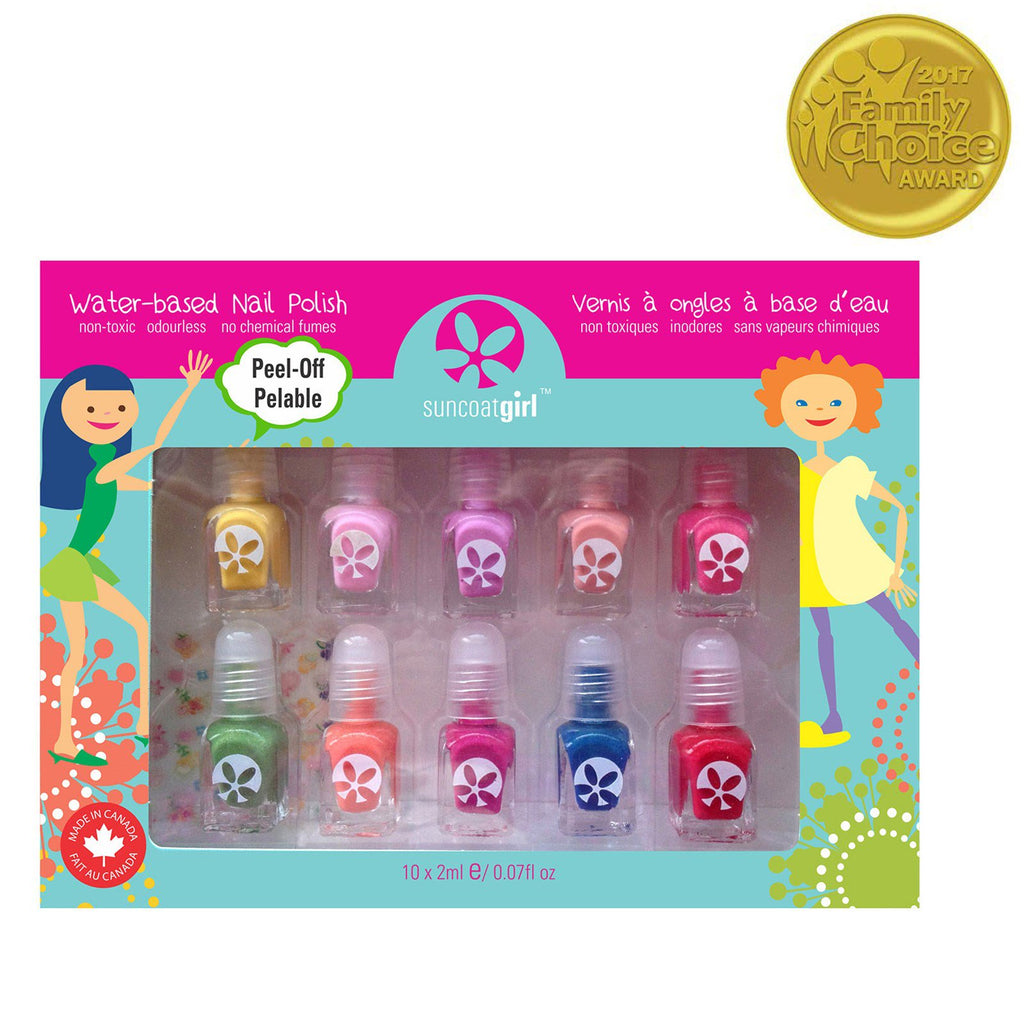 Suncoat Girl Water-Based Nail Polish Kit Party Palette 10 Pieces