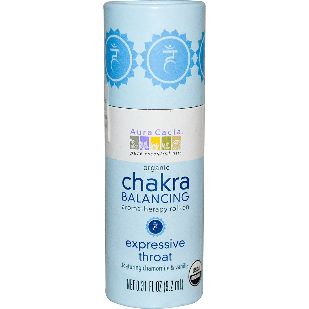 Aura Cacia, Organic Chakra Balancing Aromatherapy Roll-On, Expressive Throat, 0.31 fl oz (9.2 ml)