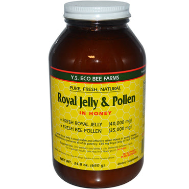 Y.S. Eco Bee Farms, Royal Jelly & Pollen, in Honey, 24 oz (680 g)