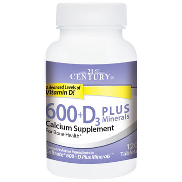 21st Century, 600+D3 Plus Minerals, 120 Tablets