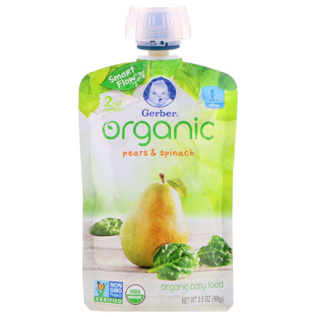 Gerber 2nd Foods Organic Baby Food Pear Spinach 3.5 oz (99 g)