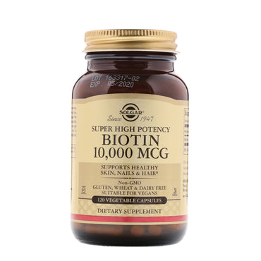 Solgar, Biotin, Super High Potency, 10,000 mcg, 120 Vegetable Capsules