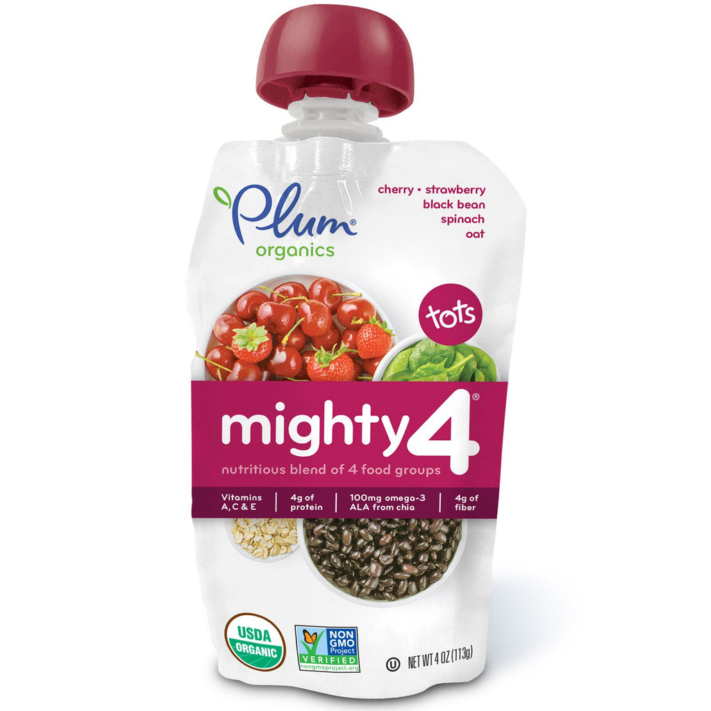 Plum Organics Tots Mighty 4 Nutritious Blend of 4 Food Groups Cherry Strawberry Black Bean Spinach Oat 4 oz (113 g)