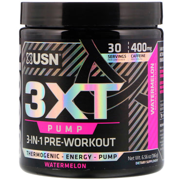 USN, 3XT-Pump, 3-In-1 Pre-Workout, Watermelon, 6.56 oz (186 g)