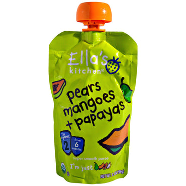 Ella's Kitchen Super Smooth Puree Organic Pears Mangoes + Papayas 3.5 oz (99 g)