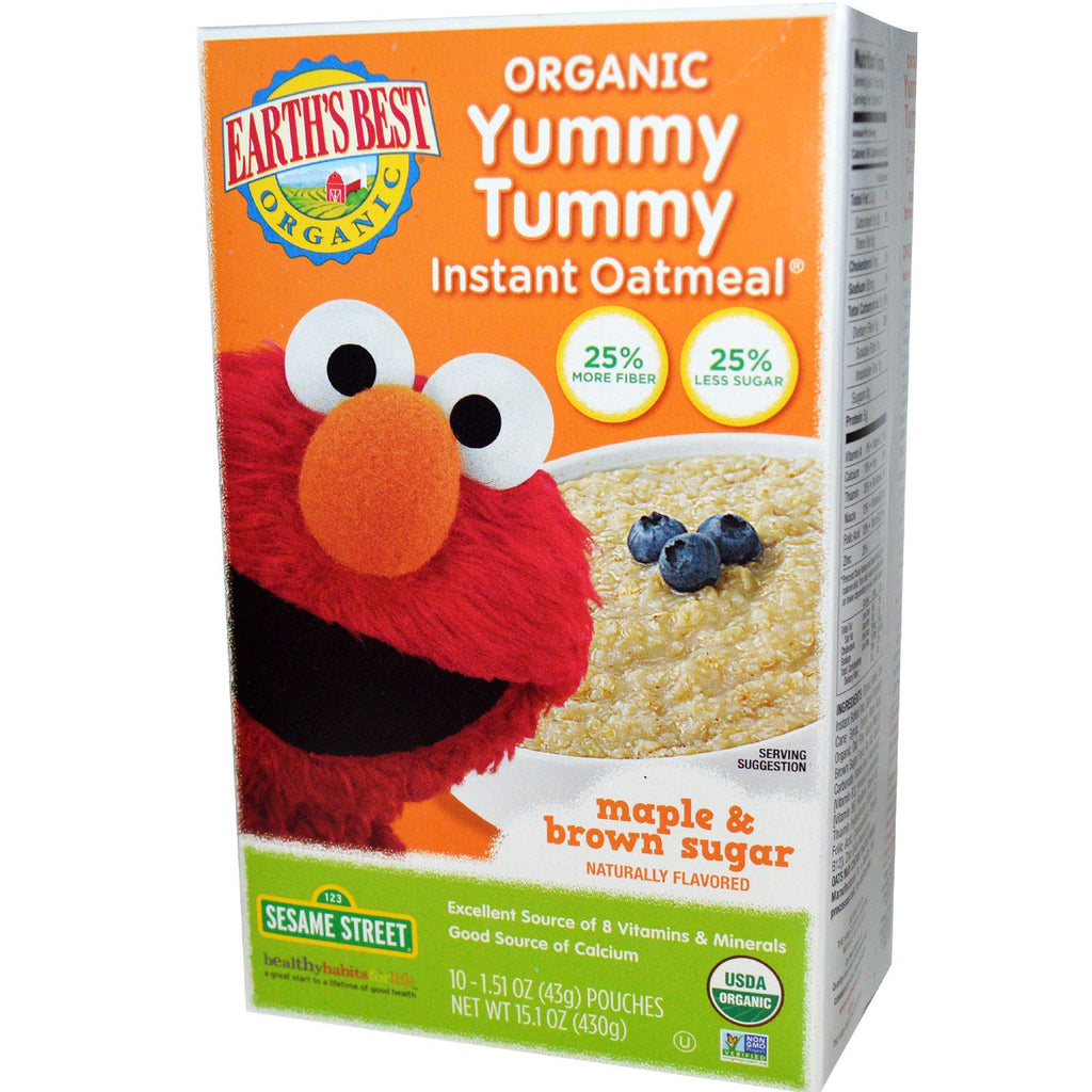 Earth's Best Organic Yummy Tummy Instant Oatmeal Maple & Brown Sugar 10 Pouches 1.51 oz (43 g) Each