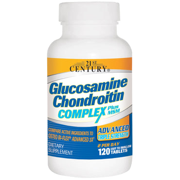 21st Century, Glucosamine Chondroitin Complex Plus MSM, Advanced Triple Strength, 120 Tablets
