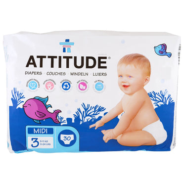 ATTITUDE, Diapers, Midi 3, 11-24 lbs (5-11 kg), 30 Diapers
