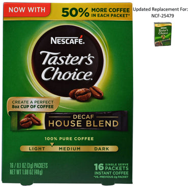 Nescafé, Taster's Choice, Instant Coffee, Decaf House Blend, 16 Single Serve Packets, 0.1 oz (3 g) Each