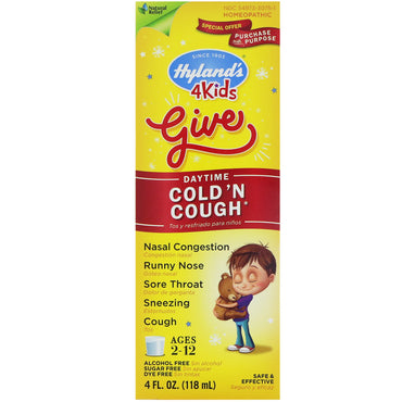 Hyland's, 4 Kids Cold 'n Cough, Daytime, Ages 2-12, 4 fl oz (118 ml)