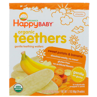 Nurture Inc. (Happy Baby), Organic Teethers, Gentle Teething Wafers, Sweet Potato & Banana, 12 Packs, 0.14 oz (4 g) Each