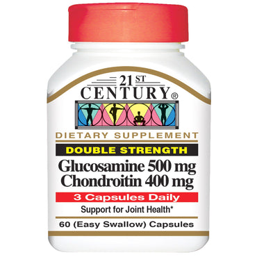 21st Century, Glucosamine 500 mg Chondroitin 400 mg, Double Strength, 60 (Easy Swallow) Capsules