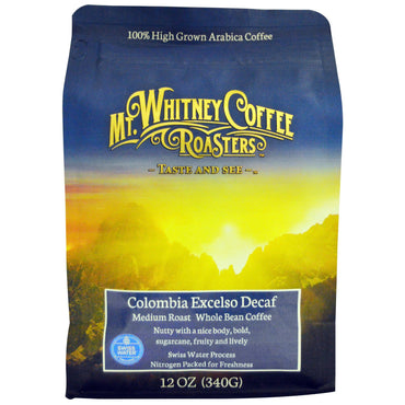 Mt. Whitney Coffee Roasters, Columbia Excelso Decaf, Whole Bean Coffee, Medium Roast, 12 oz (340 g)