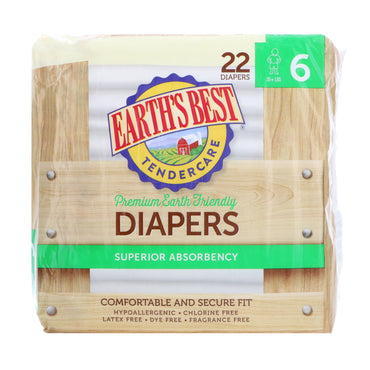 Earth's Best, TenderCare, Premium Earth Friendly, Diapers, Size 6, 35 + lbs, 22 Diapers