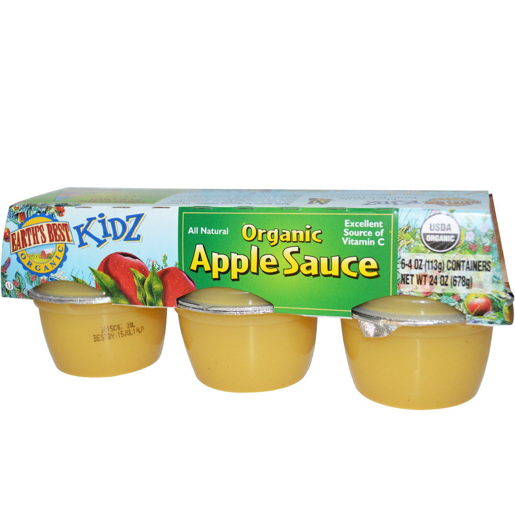 Earth's Best Kidz Organic Apple Sauce 6 Containers 4 oz (113 g) Each