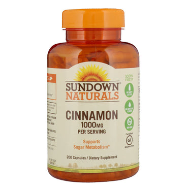 Sundown Naturals, Cinnamon, 1000 mg, 200 Capsules