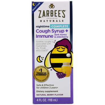 Zarbee's Children's Complete Nighttime Cough Syrup + Immune Natural Berry Flavor 4 fl oz (118 ml)