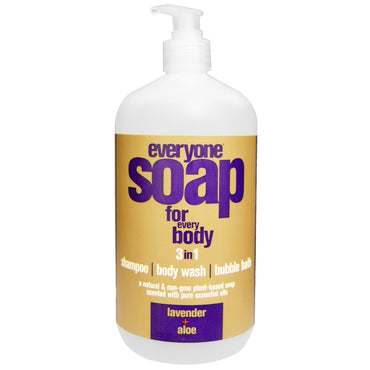 EO Products, Everyone Soap for Every Body, 3 In One, Lavender + Aloe, 32 fl oz (946 ml)