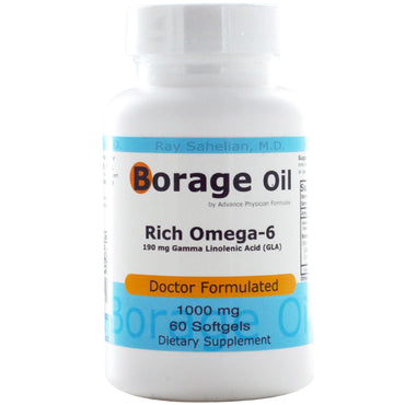 Advance Physician Formulas, Inc., Borage Oil, 1000 mg, 60 Softgels