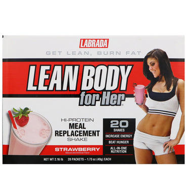 Labrada Nutrition, Lean Body for Her, Hi-Protein Meal Replacement Shake, Strawberry Flavor, 20 Packets, 1.73 oz (49 g) Each