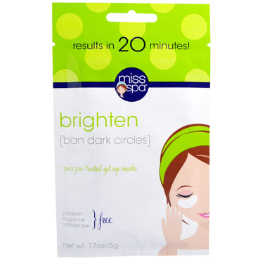 Miss Spa, Brighten, Pre-Treated Gel Eye Masks, 1 Pair