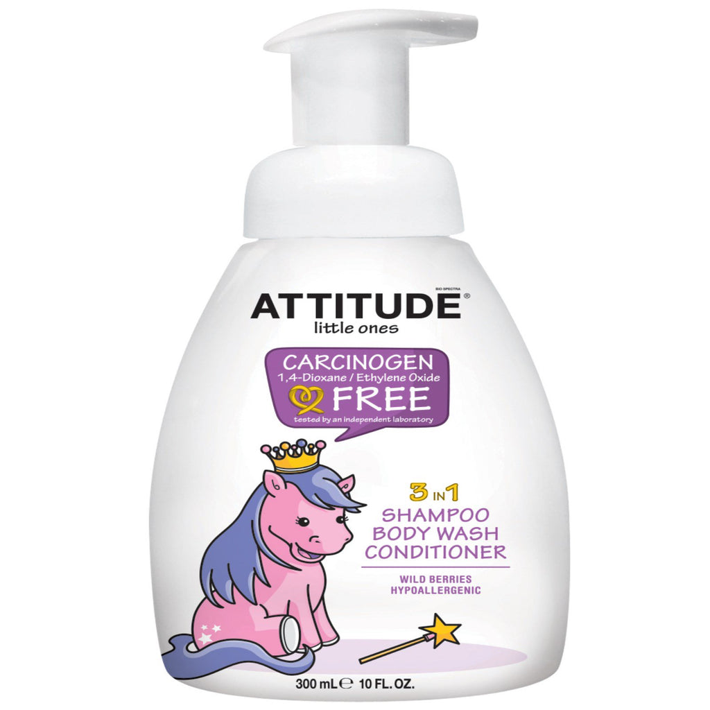 ATTITUDE, Little Ones, 3 in 1 Shampoo, Body Wash, Conditioner, Wild Berries, 10 fl oz (300 ml)